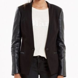 Madewell Leather Sleeve Blazer - Black